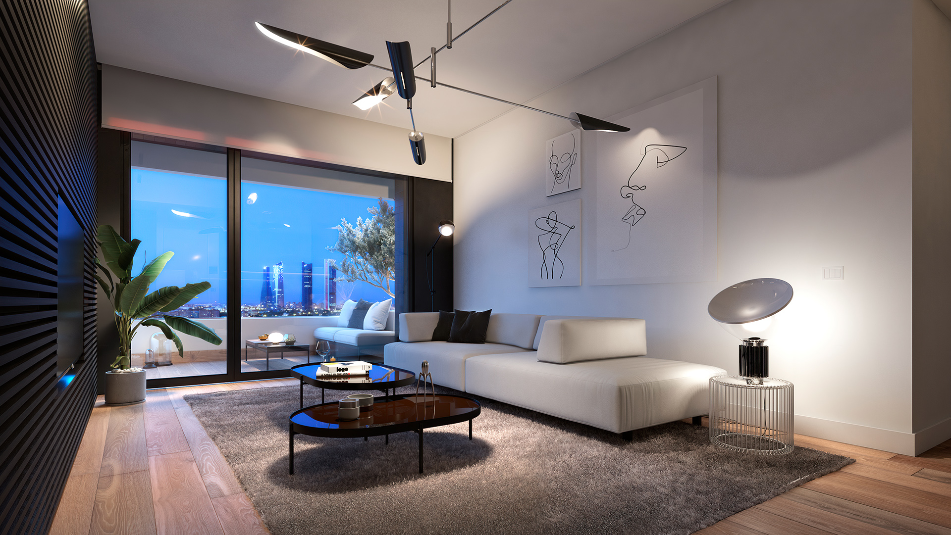 Interior living room of the 2-bedroom with views to Cuatro Torres Business Area