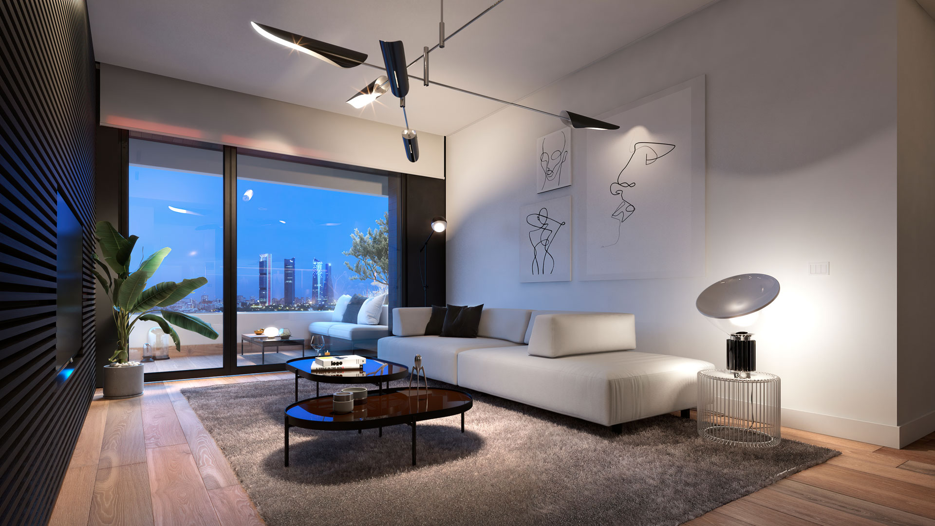 Interior living room of the 2-bedroom home with views to Cuatro Torres Business Area