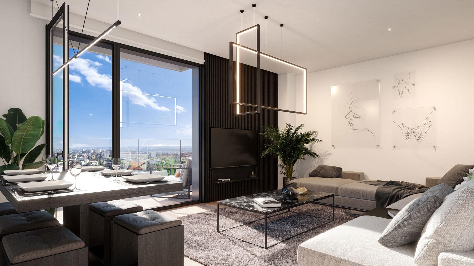 Interior 3-bedroom lounge area with views towards the Dehesa de la Villa.