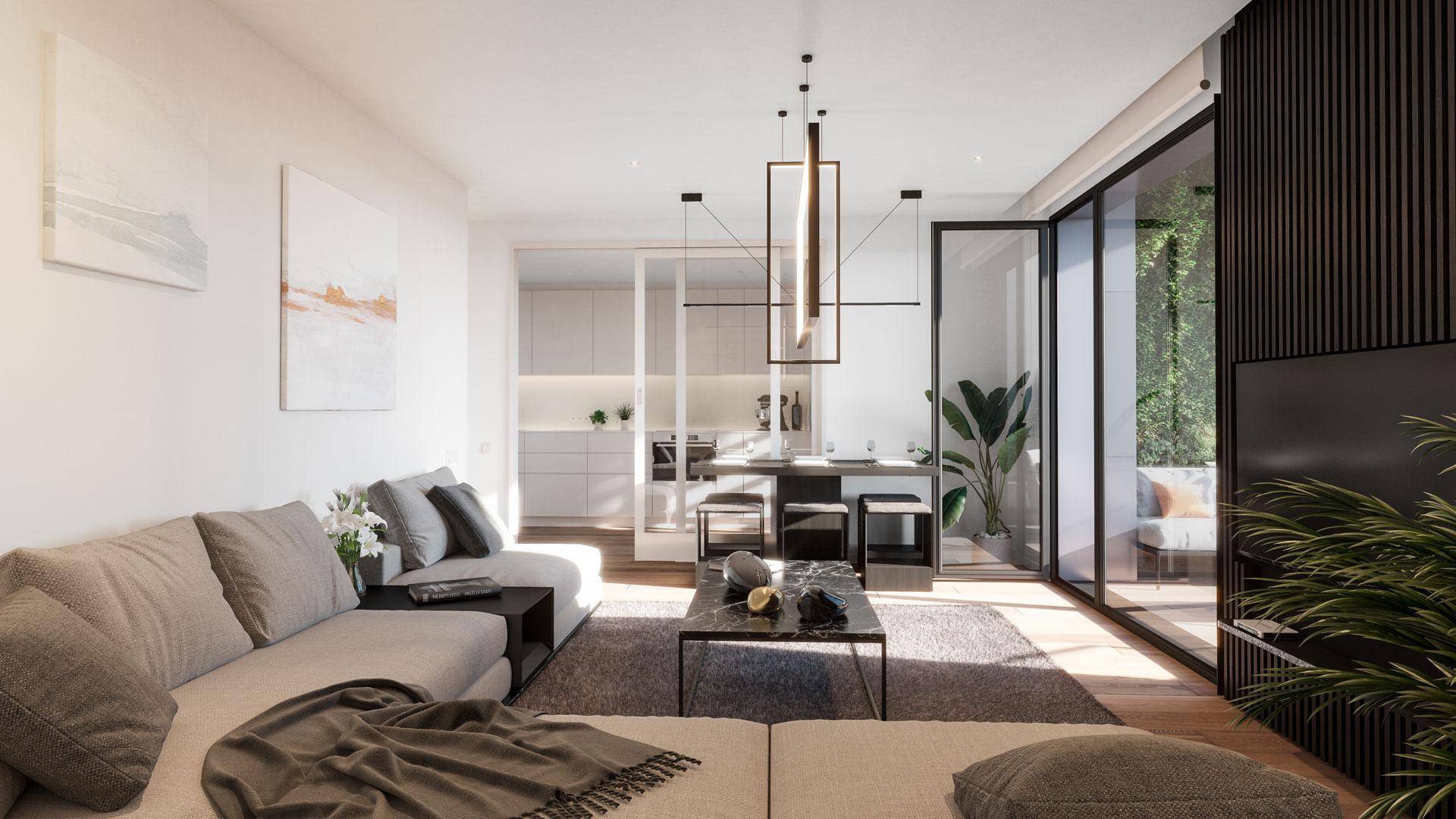 3-bedroom residence living room.