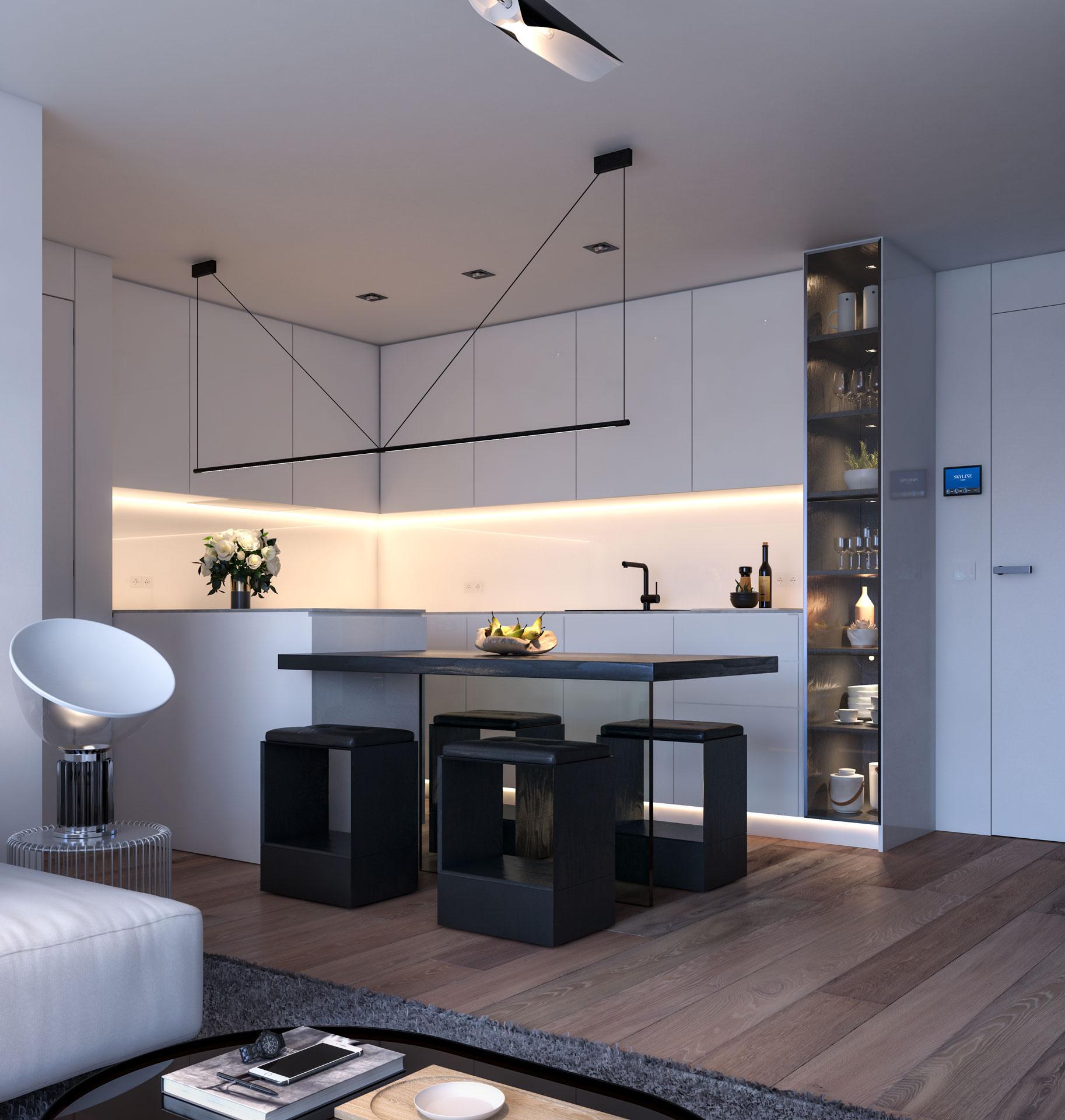 Cocina vivienda 2 dormitorios con isla central