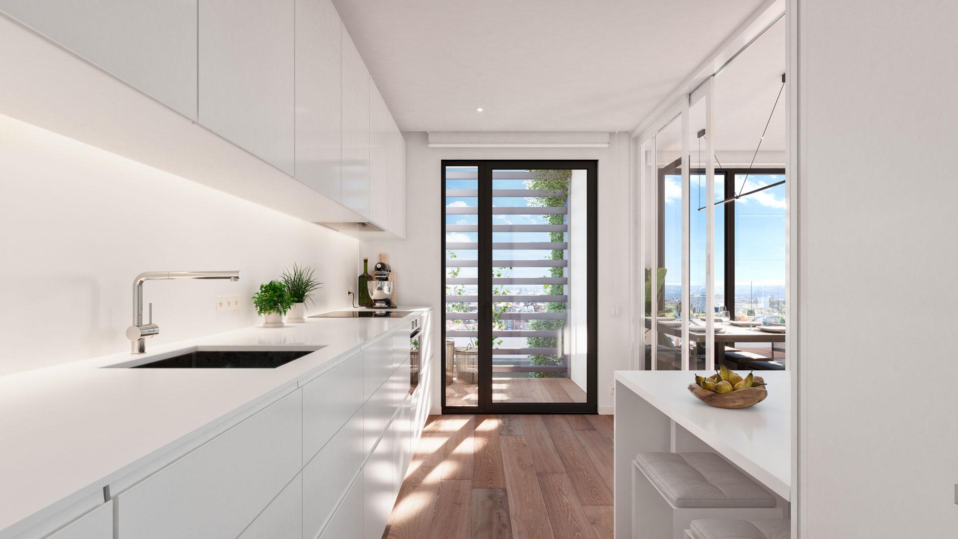 Cocina vivienda 3 dormitorios con tendedero.