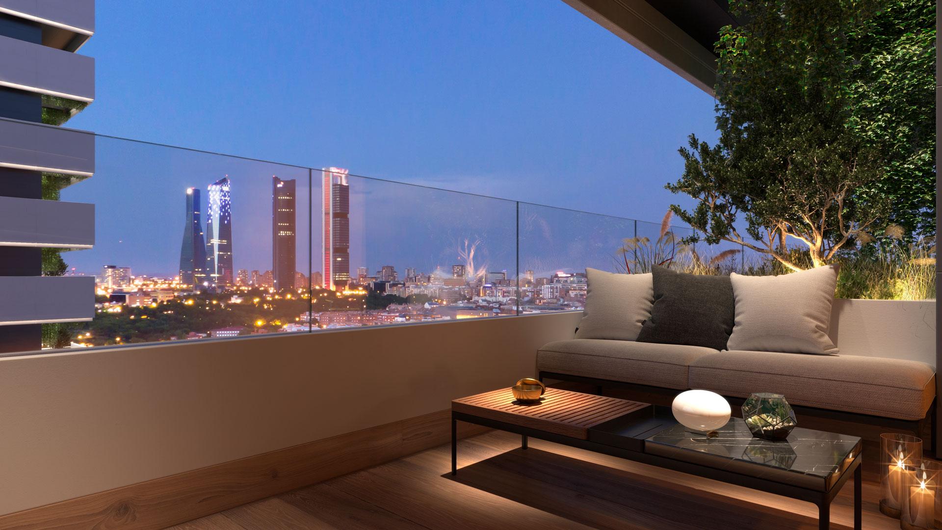 Terraza con vistas panorámicas hacia Cuatro Torres Business Area
