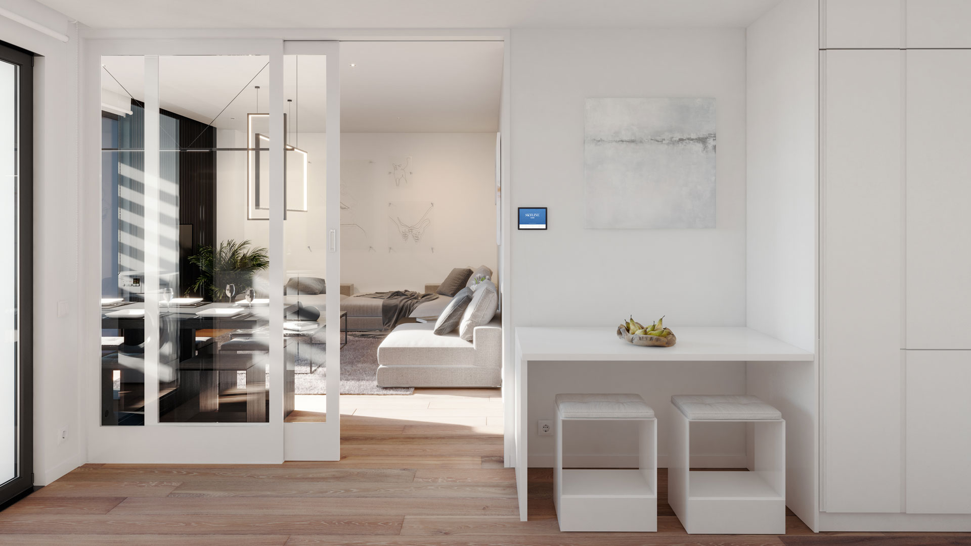 Cocina vivienda 3 dormitorios con puerta corredera separativa