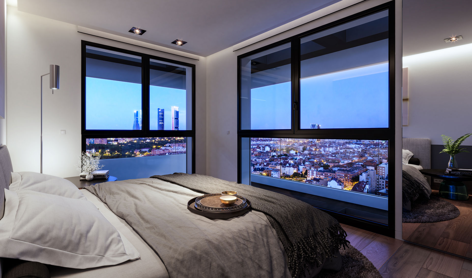 Master bedroom with views over the north of Madrid