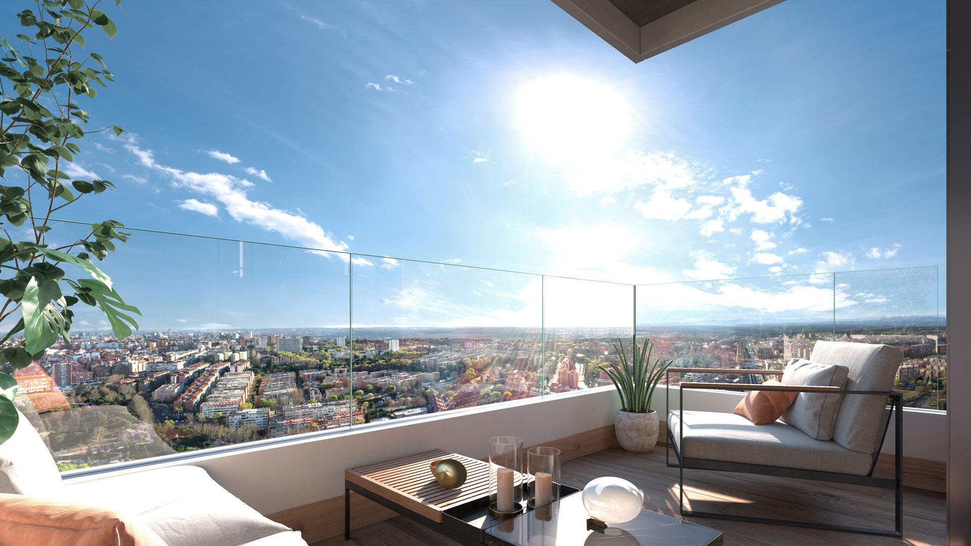 Terraza vivienda 3 dormitorios con vistas hacia la Dehesa de la Villa.