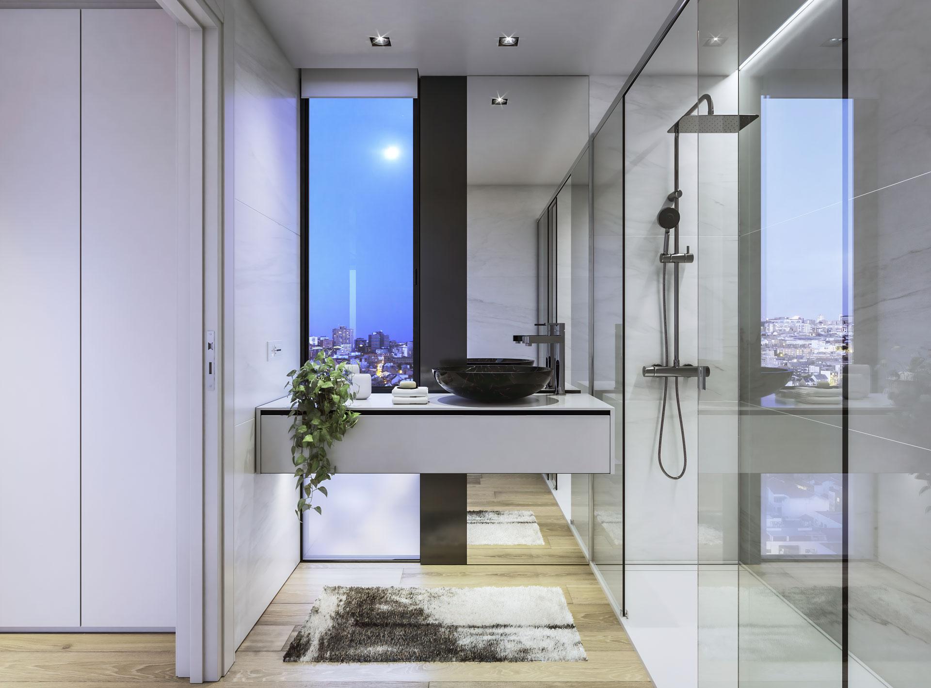 Special bathroom with views of Plaza Castilla
