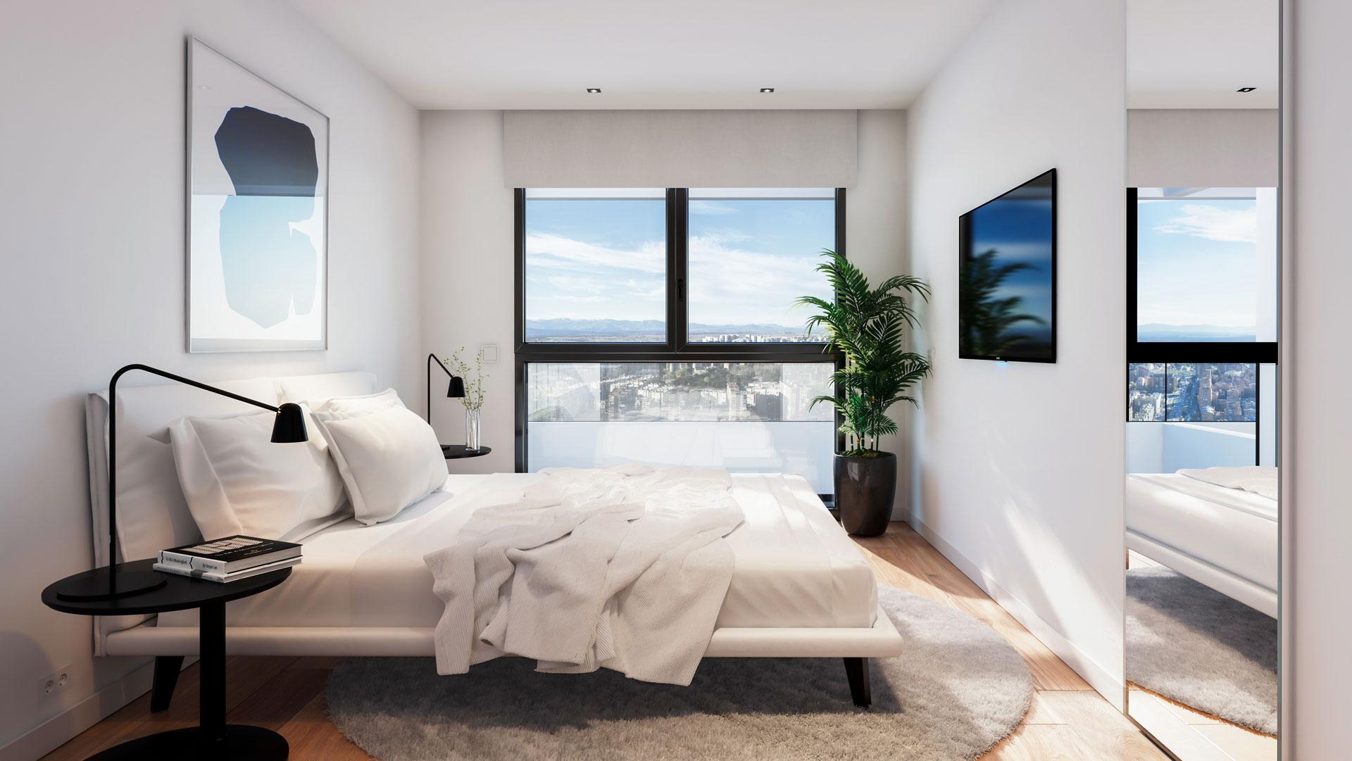 Dormitorio principal vivienda 3 dormitorios con vistas hacia el sur.