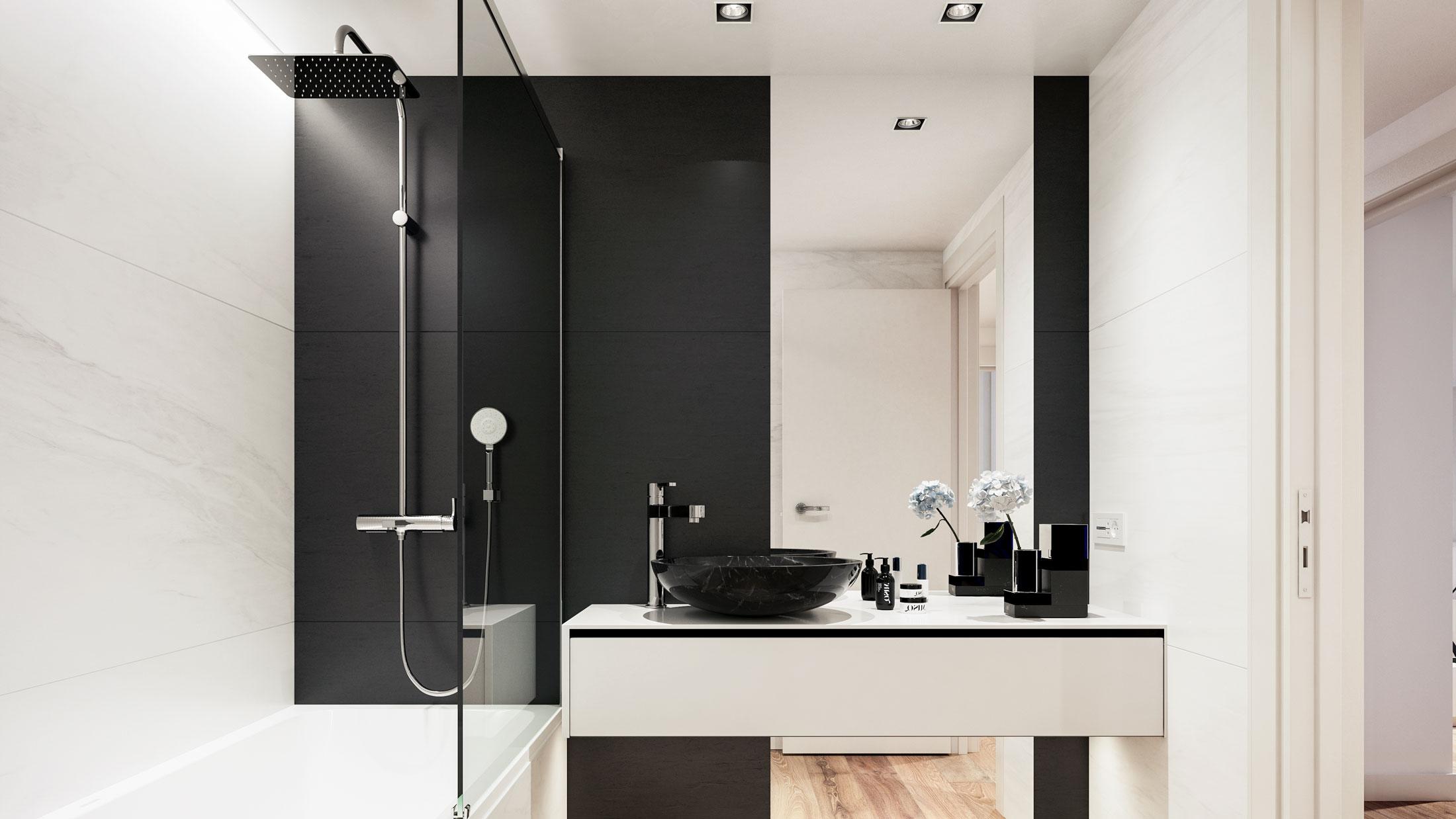 Residence second bathroom with bathtub.
